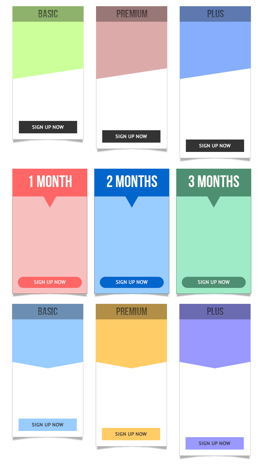 Pricing Tables with Text